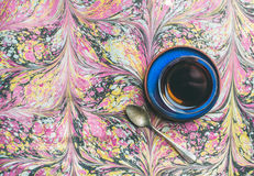 Turkish tea in traditional oriental tulip glass, copy space Royalty Free Stock Images