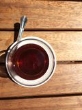 Turkish tea. Traditional red hot Turkish tea from top Royalty Free Stock Images