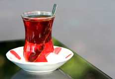 Turkish tea with traditional tea glass Royalty Free Stock Photo