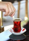 Turkish tea with traditional tea glass Stock Photos
