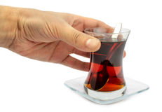 Turkish tea with traditional tea glass. Royalty Free Stock Image