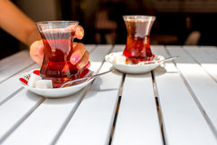 Turkish tea in traditional teacup Stock Photos