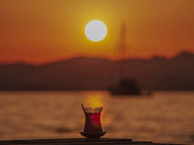 Turkish Tea sunset  Royalty Free Stock Photo