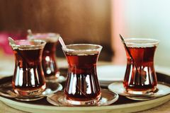 Turkish tea on a tray stock photos