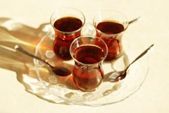 Turkish tea, Turkish teas, healthy tea, Turkish tea in particular thin glass Royalty Free Stock Images