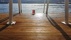 Turkish Tea on the Wooden Landing. In Marmaris, Bozburun in a holiday vacation stock images
