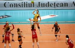 VakifBank ISTANBUL WINS CEV VOLLEYBALL WOMEN CHAMPIONS LEAGUE 2018 royalty free stock image