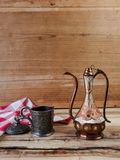 Turkish teapot with arabic decoration. With metal cup Royalty Free Stock Images