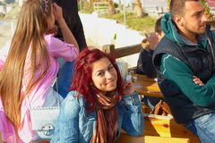 Turkish teenage girl in outdoor cafe Royalty Free Stock Image