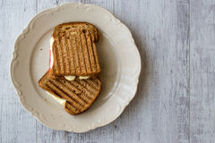 Turkish Toast tost with melted cheese and salami Royalty Free Stock Photo