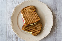Turkish Toast tost with melted cheese and salami Royalty Free Stock Image