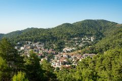 Turkish tourist village in beautiful valley shot Royalty Free Stock Photography