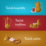 Turkish touristic banners with brass utensils double teapot, tea glass, locum, pitcher, coffee, simit. stock illustration