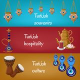 Turkish touristic banners with traditional lanterns, hookah, tea pot, tea glass, locum, drums and boncuck. Turkish touristic banners with traditional lanterns vector illustration
