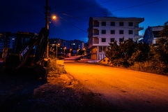 Turkish Town At Night. Relatively small Turkish town in Marmara region of country Turkey. An ideal imagery to inform outsiders about how a typical small Turkish Royalty Free Stock Photo