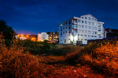Turkish Town At Night. Relatively small Turkish town in Marmara region of country Turkey. An ideal imagery to inform outsiders about how a typical small Turkish Royalty Free Stock Image