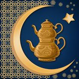Turkish traditional antique decorated copper teapot with double kettles with moon, star and oriental decoration. stock illustration