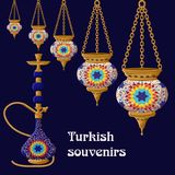 Turkish traditional ceramic souvenirs. Bright colorful hanging lanterns and hookah on blue background. Cartoon vector illustration in flat style Stock Photos