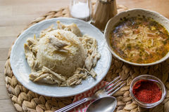 Turkish traditional chicken on a rise (tavuklu pilav) and chicke Royalty Free Stock Image