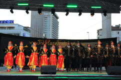 Turkish traditional dance group stage performance Stock Photos