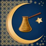 Turkish traditional decorated copper cezve with oriental decoration, moon, and star on dark blue background. Travel Turkey greeting card template. Cartoon stock illustration