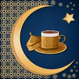 Turkish traditional decorated copper coffee cup with oriental decoration, moon, and star on dark blue background. Travel Turkey greeting card template. Cartoon vector illustration