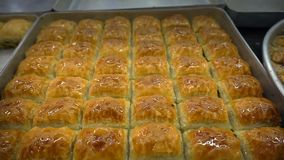 Turkish Traditional Desert Baklava. And delicious desert stock video footage