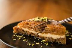 Turkish Traditional Dessert Ekmek Kadayifi / Bread Pudding Stock Photo