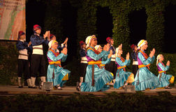 Turkish traditional folkloric dance on stage Stock Photo