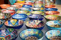 Turkish traditional  handpainted pottery bowls Stock Image