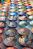 Turkish traditional  handpainted pottery bowls Stock Photo