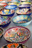 Turkish traditional  handpainted pottery bowls Stock Photos