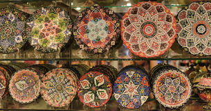 Turkish traditional handpainted pottery plates Stock Photos