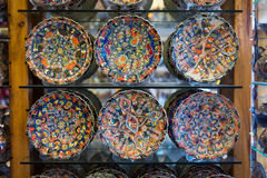 Turkish traditional  handpainted pottery plates Stock Photo