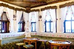 Turkish traditional interior design Bursa Turkey. Turkish tea and turkish coffee served in a traditional designed house build of wood, Bursa region Royalty Free Stock Photography