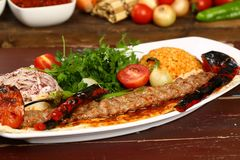 Turkish Adana - Urfa Kebab. Turkish traditional kebab specials ready to serve Stock Photos