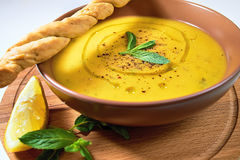 Turkish Traditional lentil cream soup with mint, lemon and homem. Ade bread. Ezogelin Royalty Free Stock Image