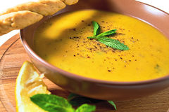 Turkish Traditional lentil cream soup with mint, lemon and homem. Ade bread. Ezogelin Stock Images