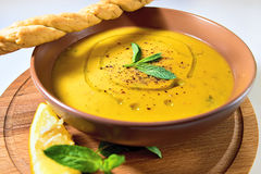 Turkish Traditional lentil cream soup with mint, lemon and homem. Ade bread. Ezogelin Royalty Free Stock Images