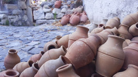Turkish traditional pitchers. Clay pots on the walkway in cappadocia Stock Photography
