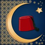 Turkish traditional red hat fez or tarboosh with arabic style ornament and moon and star background. Turkish culture concept. Ramadan kareem greeting card Stock Photo