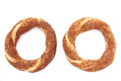 Turkish traditional sesame bagel(simit) Stock Photos