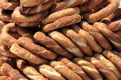 Turkish traditional sesame bagels Stock Images