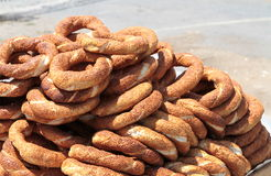Turkish traditional sesame bagels Royalty Free Stock Photos