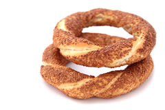 Turkish traditional sesame bagels Royalty Free Stock Images