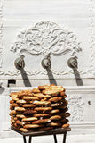 Turkish traditional sesame bagels. - Simit -. Stock Photo
