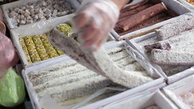 Turkish traditional sweet Turkish delight sold in the market stock footage