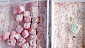 Turkish traditional sweet Turkish delight sold in the market stock video