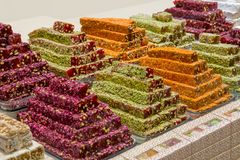 Turkish traditional sweets, rahat lukum in counter. In the Grand Bazar market, Istanbul Stock Image