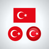 Turkish trio flags,  illustration Stock Photos